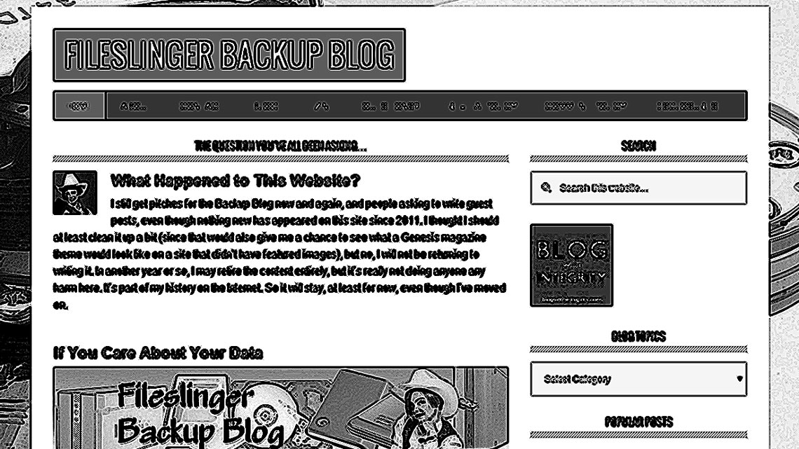 screenshot of FileSlinger.com, crosshatched