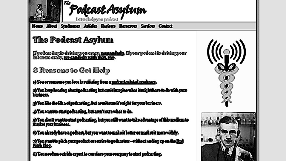 screenshot of podcastasylum.com, crosshatched